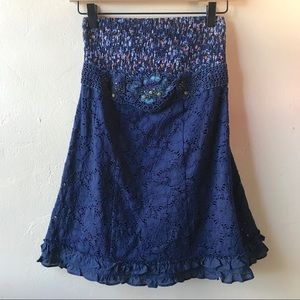 Free People Navy Lace Floral Strapless Tunic Dress